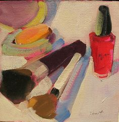 Love painting things from my makeup bag!! The shapes the colors all excite my senses. This little painting is lovely and colorful. It is graphic in