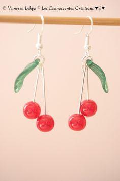 boucles d'oreille fruit cerise rouge griotte : Boucles d'oreille par eva-creations