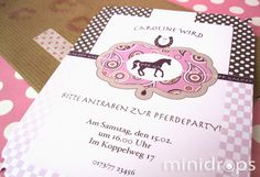 Personalisierte Einladungskarte für eine Pferdeparty