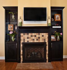 Gas fireplace with built in book shelves