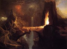 """life-imitates-art-far-more: """" Thomas Cole """"Expulsion. Moon and Firelight"""" Oil on canvas Hudson River School Located in the Thyssen Bornemisza Museum, Madrid, Spain The central motif of the painting is the bridge suspended over a. Fantasy Places, Fantasy World, Fantasy Art, Fantasy Drawings, Environment Concept Art, Environment Design, Musée D'orsay Paris, Hudson River School, Bizarre"""