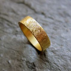 22k yellow gold wedding band rustic texture 5mm by metalicious, $600.00