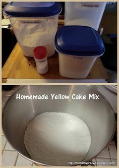 Homemade Yellow Cake Mix...both directions for dry mix to store for later & for making the cake now. Can also add 1/2 t. salt to dry mix if you want.