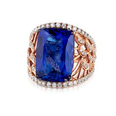 Le Vian Couture® Ring in Strawberry Gold® featuring a Blueberry Tanzanite® with Vanilla Diamonds® VIMK 659  For information, contact customerservice@levian.com