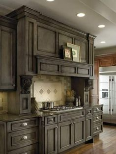 Best Gray Stained Washed Hickory Cabinets House Pinterest 400 x 300