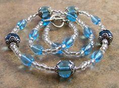 Blue Glass Silvertone Beaded Necklace