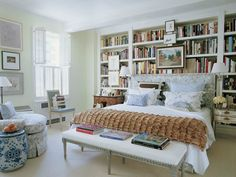 Love the bookcase behind the bed. JeffreyBilhuber