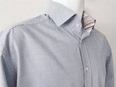 Men Johnston & Murphy Casual Shirt Tailored Fit Long Sleeve 100% Cotton sz Large