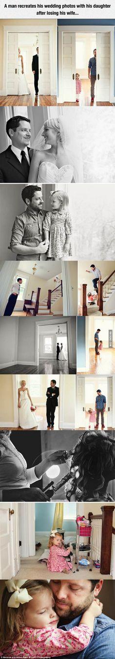 A man recreates his wedding photos with his daughter