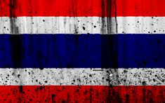 Download wallpapers Thai flag, 4k, grunge, flag of Thailand, Asia, Thailand, national symbols, Thailand national flag