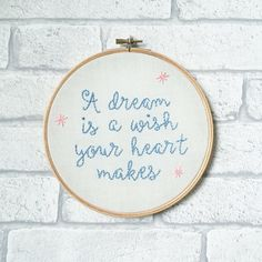 Embroidered Wall Art Inspirational Quote Disney by honeylemonshop