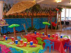 DIY luau party set-up