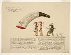 Powder Horn: Onondaga indian, Prof. James Hall, Owner (I-11), with a Vignette Scene of Legendary Onondaga Chief Atotarho, 1889, by Rufus Alexander Grider, watercolor, brown and black ink and wash, gouache, and graphite, with selective glazing on beige paper.  Gift of Isaac J. Greenwood, New-York Historical Society, 1907.36.395.