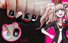 Junko Enoshima Nail Design by iCrisUchiha on DeviantArt Cute Acrylic Nail Designs, Cute Acrylic Nails, Cute Nail Art, Cute Nails, Aycrlic Nails, Stiletto Nails, Garra, Anime Nails, Mary Janes