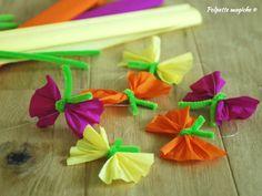 Farfalle di carta crespa - lavoretto bambini