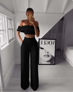Outfits dressy Off Shoulder Crop and Wide Leg Pants Set Off Shoulder Crop und Weite Hosen Set - iawear Suit Fashion, Look Fashion, Fashion Pants, Fashion Outfits, Womens Fashion, Fashion Goth, Fashion Skirts, Cheap Fashion, Winter Fashion