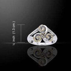 Celtic TRISKELE Ring 925 Silver Gold Neolithic Spiral Triskelion