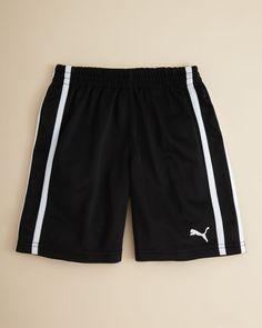 Puma Boys' Basic Shorts - Big Kid | Polyester | Machine wash | Imported | Elasticized waist | Side stripes, logo at left hem | Web ID:631151