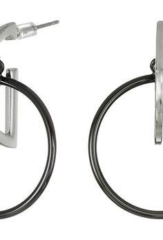 French Connection Orbital D Ring Hoop Earrings (Silver/Hematite) Earring - French Connection, Orbital D Ring Hoop Earrings, FCP00097H040-040, Jewelry Earring General, Earring, Earring, Jewelry, Gift, - Fashion Ideas To Inspire