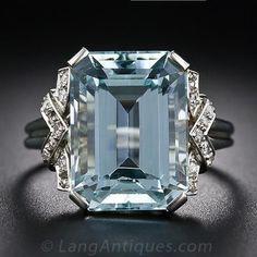 Art Deco Aquamarine and Diamond Ring - 30-1-5133 - Lang Antiques.