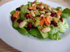 Sálát s červenou řepou, mrkví, celerem a praženým sezamem - salad with red beet, carrot, celery and sesame seeds