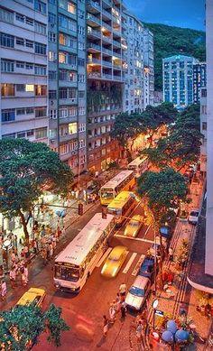 STREET IN COPACABANA, RIO DE JANEIRO BRAZIL