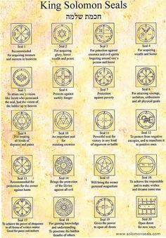 The 44 King Solomon Seals from Israel KIng Solomon Seals Alchemy, Witchcraft, Magick, wicca. Magic Symbols, Ancient Symbols, Occult Symbols, The Occult, Demon Symbols, Witchcraft Symbols, Angelic Symbols, Occult Art, Viking Symbols