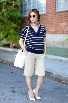 Outfit Ideas, Style Inspiration, Summer Outfits, Neck Scarf, Mansur Gavriel Bucket Bag, Stripes, Plaid, Stuart Weitzman Nouveau Pumps