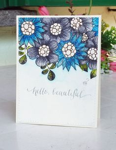 Simon Says Stamp Summer Garden / Stabilo Watercoloring / Floral Handmade Card
