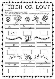 This set of 20 spring themed worksheets is designed to help your students practice identifying whether a pitch is on a line or in a space and practice high/low pitches. All activities require no preparation. Music Lessons For Kids, Music Lesson Plans, Music For Kids, Piano Lessons, Piano Songs For Beginners, Beginner Piano Music, Music Worksheets, Kindergarten Worksheets, Music Education