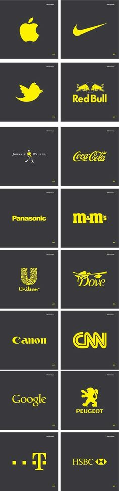 g8 pictures: Famous Logos In CMYK Yellow by Määr Dominique, via Behance