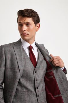Moss 1851 Tailored Fit Black & White with Red Check Jacket Checked Suit, Fitted Suit, 3 Piece Suits, Fit 4, Blazers For Men, Jacket Buttons, Suit Jacket, Trousers, Black And White