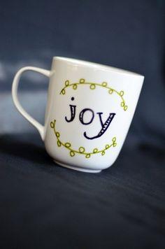 Joy Coffee Mug Unique Coffee Mug Hand Painted by EverydaySummit, $14.00