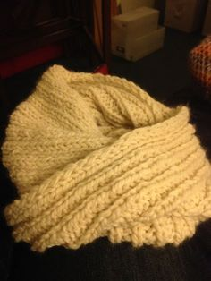 I made. Best bargain wool ever, almost aran weight and the softest wool/acrylic mix I've found anywhere. I bought 10 skeins at per and wish I'd bought more! Knit Cowl, Rib Knit, Fishermans Rib, Neck Warmer, Cowl Neck, Wool, Blanket, Cream, Knitting