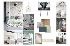 Planche d'ambiance Chambre (scandinave-design-lumineux-ambiance-vert-bois-blanc)