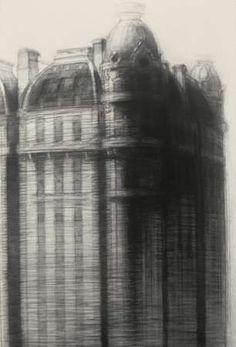 Richard Bunkall, Cornerstone, 36'' x 24'', charcoal on paper, 1992