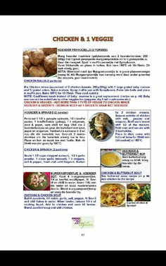 Resep hoender Banting Recipes, Low Carb Recipes, Diet Recipes, Recipies, Healthy Eating Recipes, Healthy Meal Prep, 28 Dae Dieet, Dieet Plan, South African Recipes