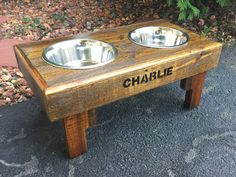 "Reclaimed rustic pallet furniture dog bowl stand pet feeding station with 2 brand new stainless steel bowls. 21"" L X 11"" W X 11"" T by Kustomwood on Etsy"