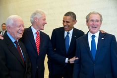 Portrait of four presidential men in dark suits and ties - Presidents Jimmy Carter, Bill Clinton, Barack Obama and George W. Bush, at the dedication of the the George W. Bush Presidential Library in Barack Obama, Jimmy Carter, Rachel Maddow, Michelle Obama, American Presidents, American History, Black Presidents, American Life, American Soldiers
