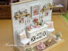 Miniature Dollhouse Shabby Chic Room Set Scale 1 : 12 by Minicler