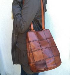 Leather Shoulder Bag, Hand Stitched Leather Patchwork, Fall Classic by…