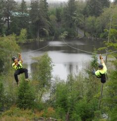 We had fun zip-lining like these two! Fly through the treetops with High Life Adventures in Warrenton, Oregon. Seaside Oregon, Oregon Beaches, Oregon Coast, Life Is An Adventure, Adventure Travel, Vacation Destinations, Vacation Ideas, Vacations, Oregon Travel