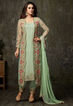 Semi-Stitched Faux Georgette Pakistani Suit Pastel Green This Square Neck and Full Sleeve attire with Poly Shantoon Lining is Prettified with Resham, Zari, Stone and Patch Border Work Available with a Poly Shantoon Pant, Faux Chiffon Dupatta and a Net Semi-stitched Embroidered Jacket in Pastel Green The Kameez, Bottom and Jacket Lengths are 48, 42 and 50 inches respectively Do note: The Length may vary upto 2 inches. Dangles and Accessories shown in the image are for presentation purposes…