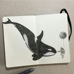 #Drawing Sketchy Stories: The Sketchbook Art of Kerby Rosanes, #KillerWhale #Sketchbook #Whale Illustration, Art, Sketch - Photo by @blackworkillustrations - Follow #extremegentleman for more pics like this!