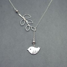 Bird and Branch Lariat Necklace 'Lydia in Grey' with Sterling Silver and Swarovski Pearls