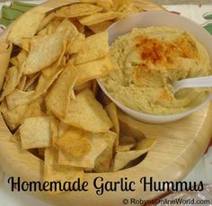 Homemade Roasted Garlic Hummus - easy and delicious recipe!