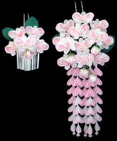 かんざし 胡蝶ラン Satin Ribbon Flowers, Ribbon Art, Fabric Flowers, Paper Flowers, Handmade Flowers, Diy Flowers, Shibori, Diy Craft Projects, Diy Crafts
