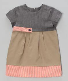 Another great find on #zulily! Anna Bouché Gray & Tan Stripe Shift Dress - Toddler & Girls by Anna Bouché #zulilyfinds
