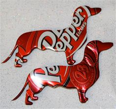 Recycled Soda Can Dachshund Magnets