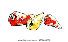 Set of red and yellow peppers. Modern watercolor illustration with black ink outline.